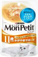 モンプチスープパウチ 11歳以上用かがやきサポート まぐろスープささみ かにかま しらす入40g