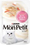 モンプチスープパウチ まぐろ かにかま ささみ入り クリーミースープ 40g