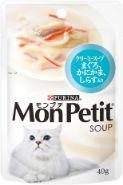 モンプチスープパウチ まぐろ かにかま しらす入り クリーミースープ 40g