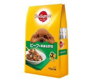 ペディグリー 成犬用 ビーフ&緑黄色野菜 70g×3袋