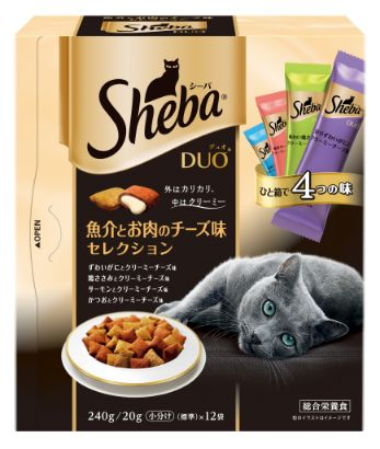 シーバ デュオ 成猫用 魚介とお肉のチーズ味セレクション 240g
