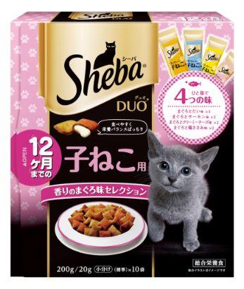 シーバ デュオ 12ヶ月までの子ねこ用 香りのまぐろ味セレクション 200g